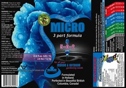 Holland Secret Micro 3 Part Nutrient